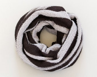 Jersey Knit Infinity Scarf Black Gray Silver Striped Chunky Cowl Scarf Black Wool Scarf Womens Scarves
