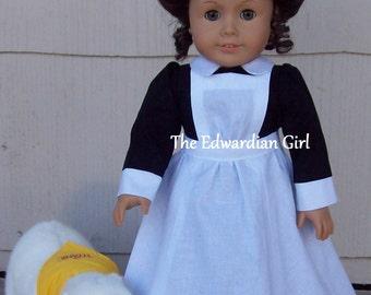 Pre-order Titanic stewardess doll dress, black, apron, cap, historical, Edith Cavell, fits American Girl, Gotz, Springfield, Made in USA