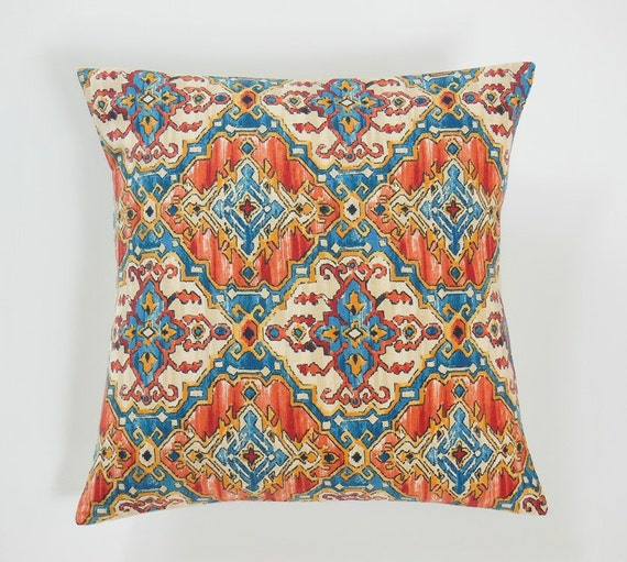 Kilim Pillow Covers Teal Blue Kilim Pillows by JacqueAnnDecor