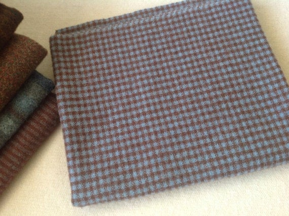 Little Blue and Brown Check, Mill Dyed Wool Fabric for Rug Hooking and Applique, Little Blue and Brown Check, Select-a-Size, J893