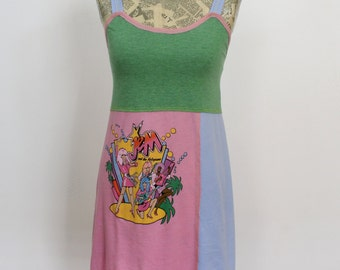 Jem and the Holograms Upcycled Cotton Dress, size 0-2
