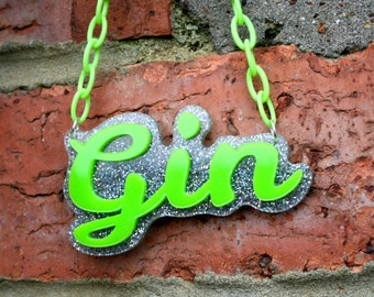 Gin laser cut necklace