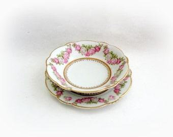 Pinterest Wedding Dishes Bavaria Porcelain Bowl and Plate- Pink Wedding Colors Decor Pink Wedding Shower Pink Bridal Shower Pink Kitchen