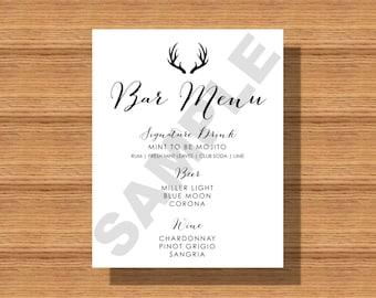 Wedding Bar Menu, Rustic Wedding, Antlers Bar Menu
