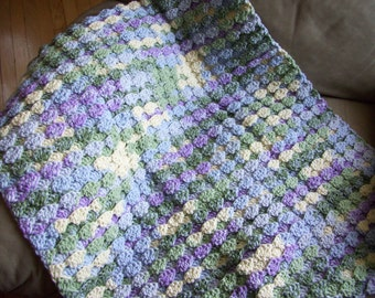 5 Hand Crocheted Baby Blankets, Child Blanket, Crib Stroller Blanket