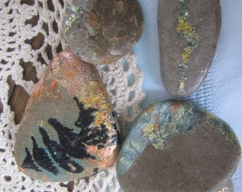 Tom Thomson Inspired Whimsy Tree Art River Rock Gift Set - Hand Painted