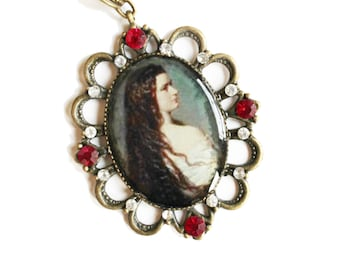 Cameo necklace, Charm necklace, Vintage necklace, Cameo charm necklace,