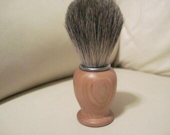 Cherry Badger Hair Shaving Brush, Hand Turned