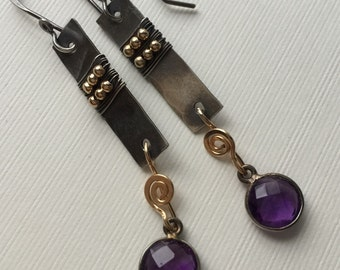 Two-tone earrings with silver wire, bezel-set amethyst  and gold-filled beads/ wire wirewrapped earring