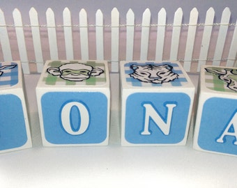 "Custom Alphabet Blocks, Zoo Animal Wooden Blocks, Personalized Baby Shower Gift, 1 1/2"" wooden blocks"