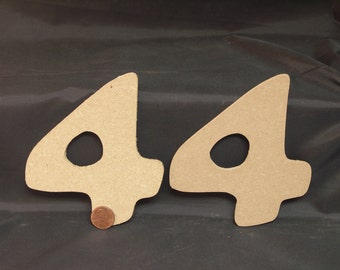 """Hand Cut Alphabets-Numbers, Pack of 2 """"4"""", 4.25"""" Tall, Blank, Ready for your art work"""