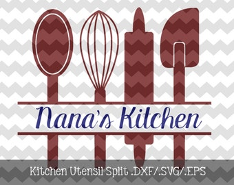 Kitchen Utensil Split Monogram Frame .DXF/.SVG/.EPS File for use with your Silhouette Studio Software