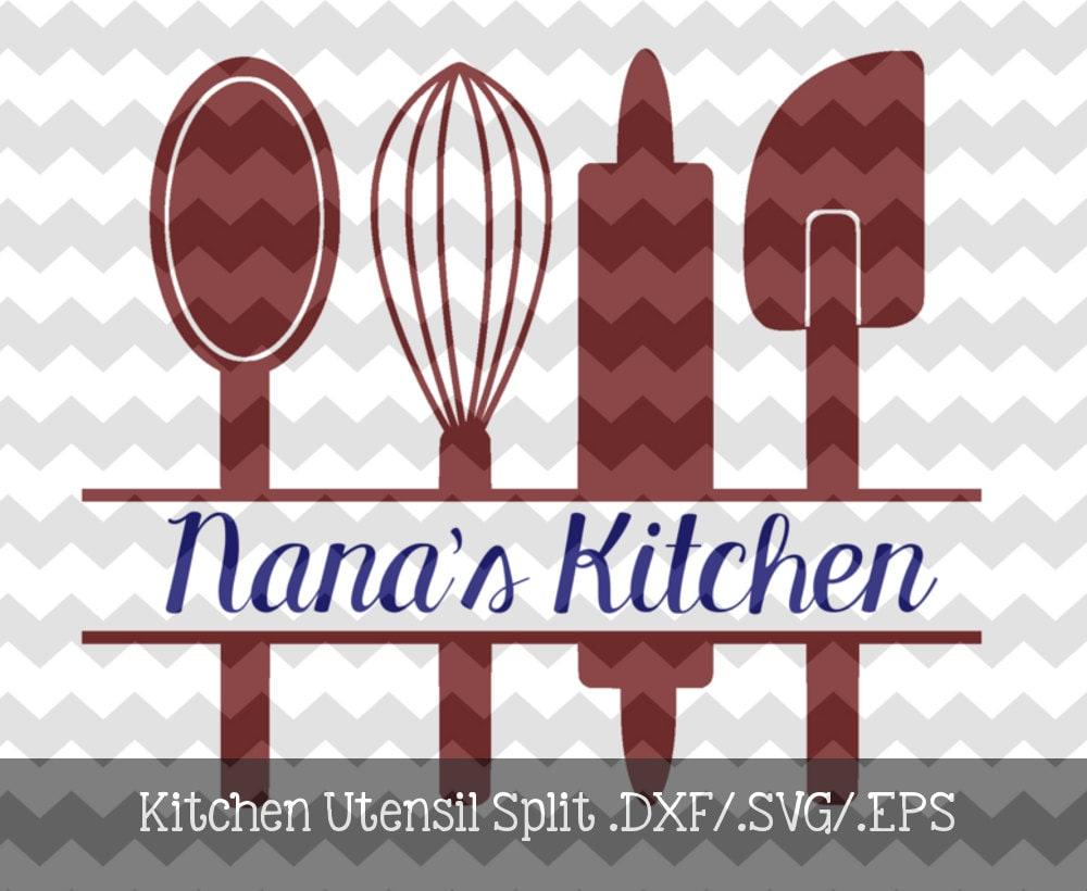 Kitchen Utensil Split Monogram Frame Dxf Svg Eps File For