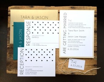 "Modern Wedding Invitations, Gold, Teal, Black, Ivory, Modern Wedding - ""Hearts & Lace""  - Updated Colors for 2015 - Sample"
