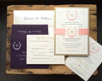 "Monogram Wedding Invitations, Gold, Plum and Blush Elegant Wedding Invites - ""Gold and Blush Monogram"" - Sample"