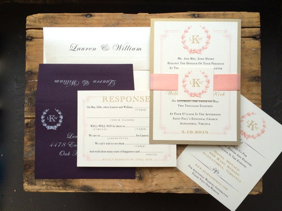 Monogram Wedding Invitations Gold Plum and Blush Elegant
