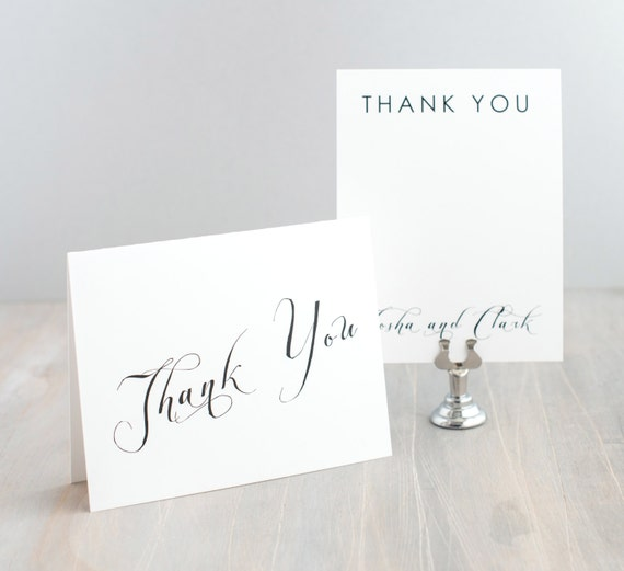 Modern Calligraphy Wedding Thank You Cards Bridal Shower