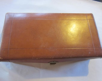 leather box. sewing box. all leather handmade leather box vintage