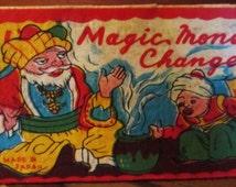 Vintage Cardboard Puzzles/Magic Trick.  Magic Money Changer Possible Cracker Jack Prize.  Made In Japan Ephemera.  Y-126