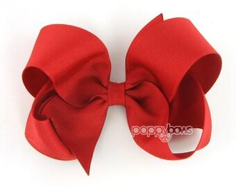 "Red hair bow - Girls Hair Bow - large hair bows - girls big bows - hair bows for toddlers - big hair bows - 4 inch bows - girl hair bows 4"""