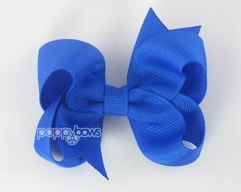 Hair Bow Cobalt Blue - girls hair bows - toddler hair bows - baby hair bows - little girl hairbows - 3 inch bows - ribbon bows barrette