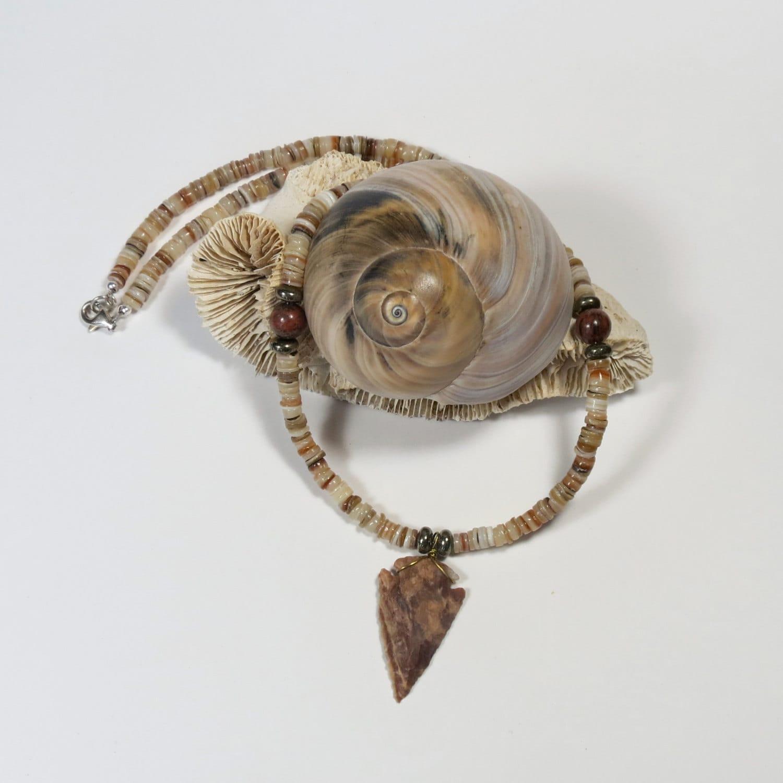 s arrowhead necklace of shell heishe jasper and