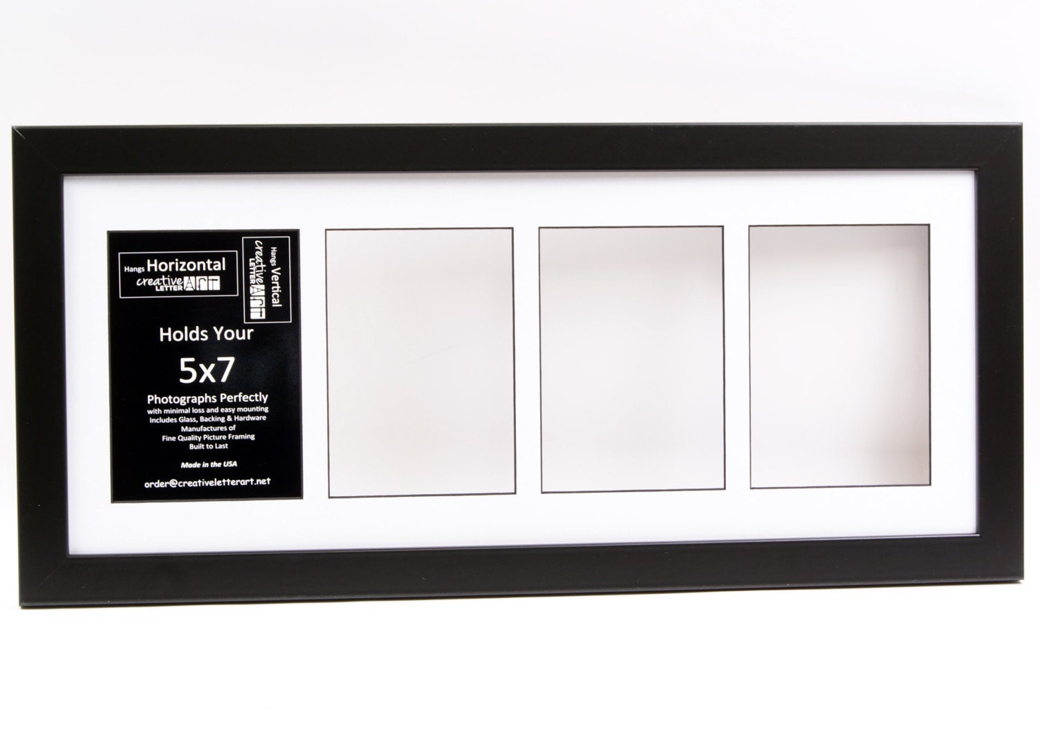 5x7 Black 4 Opening Picture Frame With 10 By 24 Inch