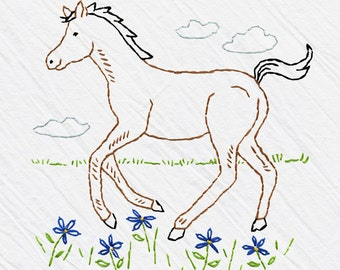Horse Tea Towel Embroidery Kit, Brown Colt, Beginner Embroidery Kit, DIY Sewing, Hand-Stitching - 'Colt' Heidi Boyd