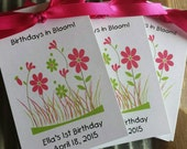 Pink Flowers or Blue Flowers Design for Baby Shower Flower Seed Favors or Birthday Party Favors SALE CIJ Christmas in July