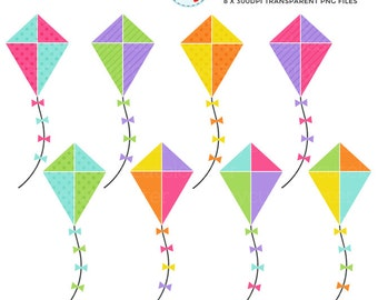 Kites Clipart Set - clip art set of kites, spring kites, summer kites, kite, kites - personal use, small commercial use, instant download