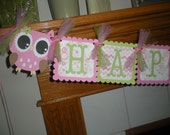 Open Eyed Owl  Happy Birthday Banner Matching Tissue Pom Poms Available