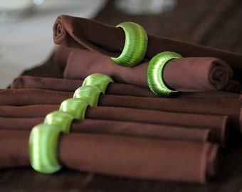 Set of 8 Fall Napkin Rings, Light Green Serviette Holders, Autumn Home Decor, Thanksgiving Hostess Gift