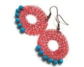 Copper circles with turquoise - crochet earrings, lightweight earrings, geometric jewelry, boho earrings