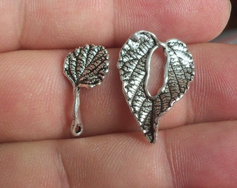 2 Solid Sterling Silver 925 one of its kind Leaf Toggle Clasp beads