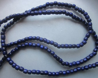 Dark Purple Wood Barrel Beads 5x4mm 30 Beads