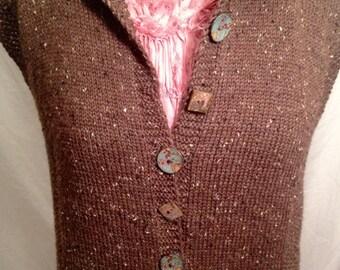 Hand knit vest, waistcoat, button up vest, vest, womens vest