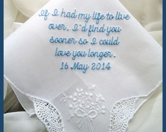 Wedding Handkerchief Perfect Wedding Gift for Bride Custom Made Handkerchief Personalized with Your Own Saying Embroidered Wedding Hanky