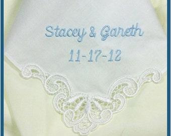 Personalized Wedding Handkerchief | Bride Bridal Something Blue | Embroidered Wedding Handkerchief Hankie Cotton 9102C