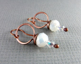 Wire Wrapped Earrings Copper Jewelry White Earrings Wire Wrapped Jewelry Copper Earrings Hoop Earrings