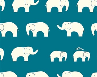Ellie Fam Teal, Birch Organic, Mod Basics, Dark Blue Elephants, Modern Fabrics, One Yard, more Available