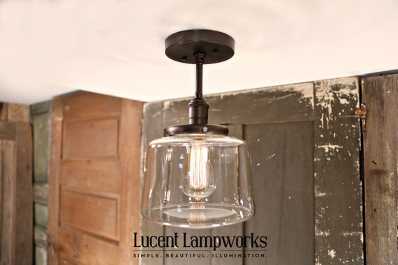 Pendant lighting downrod : Downrod pendant lighting with clear taper globe by