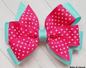 Hot Pink and Aqua Layered Pinwheel Bow