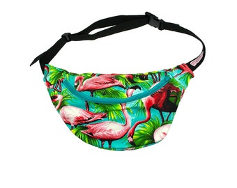 FLAMINGO 100% cotton bumbag fanny pack turquoise ykk zip. fully lined fanny pack with key ring tab for children