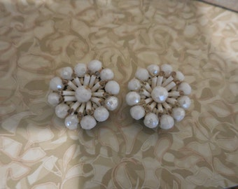 Vintage 1950s to 1960s White Faceted Glass Beaded Clip On Earrings Non Pierced Silver Tone Western Germany Round