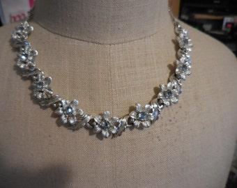 Vintage Silver Tone 1950s to 1960s Adjustable Flowers Light Blue Rhinestones Sparkly