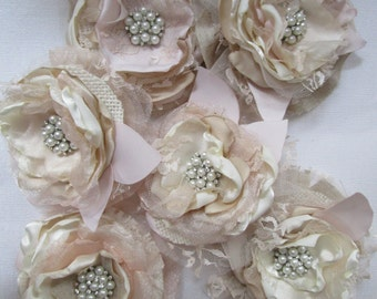 Rustic burlap flowers ivory champagne blush Set of 2 Bridal flowers Rustic wedding decoration Wholesale fabric flowers Wedding cake toppers