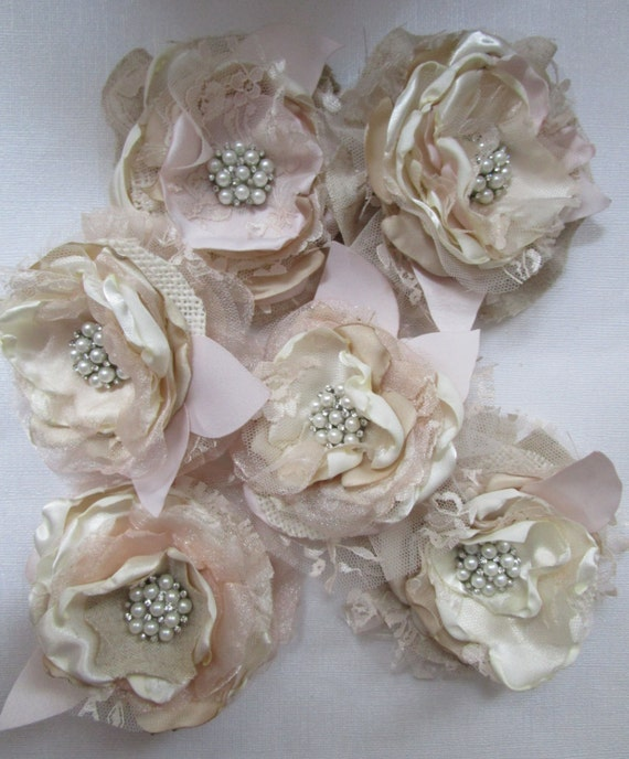 Rustic burlap flowers ivory champagne blush set of 2 bridal like this item junglespirit Image collections