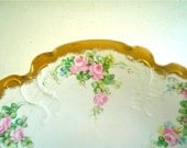 Antique Footed Bowl Hand Painted Pink Roses on Rosenthal Porcelain with Gold Rim