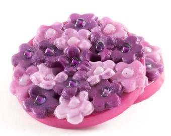 Polymer clay buttons purple and pink flowers 3d set of two