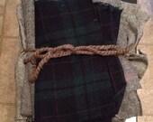 Wool, remnants, tartan, plaid, herringbone, black and white, scraps, fabric, craft, winter, scarf, diy, bundle